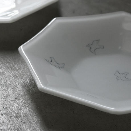 plate「八角浅鉢 チドリ」戸島 邦子 027393-1-294
