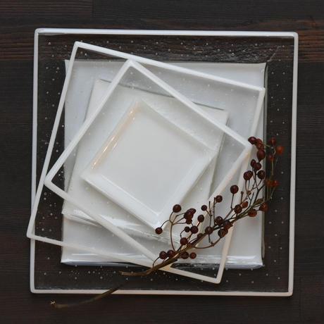 plate「泡のリム角皿(大)」戸島 邦子 025902-3-308