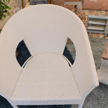 ラタンチェア(籐椅子)シンセティックラタン 【typeD】ホワイト