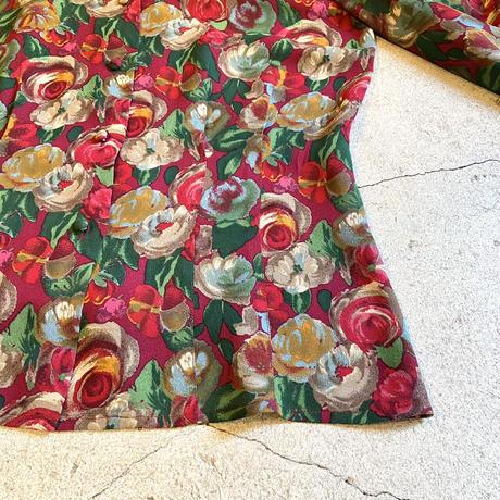 花柄ブラウス シルク