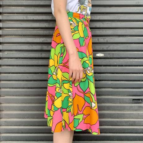 70's 大判花柄スカート