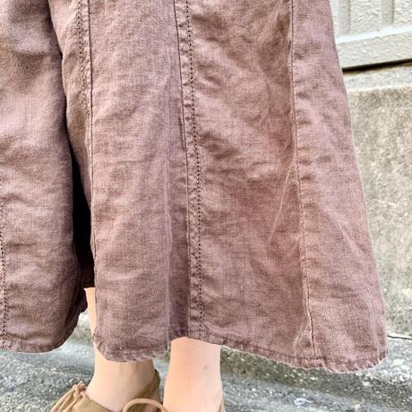 リネン 切替スカート