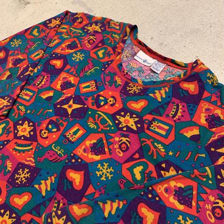 総柄 コットン ロングTシャツ
