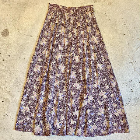 フロントボタン 花柄スカート