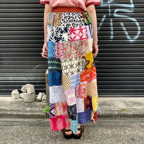 インドコットン パッチワーク マキシ丈スカート