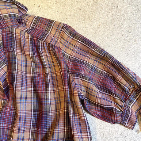 チェック プルオーバー半袖シャツ