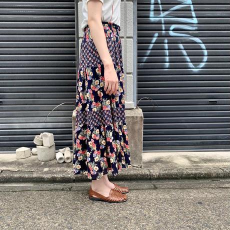 花柄 ティアードスカート