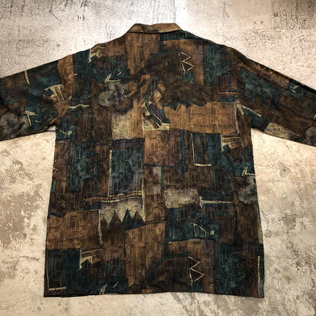 総柄L/Sシャツ