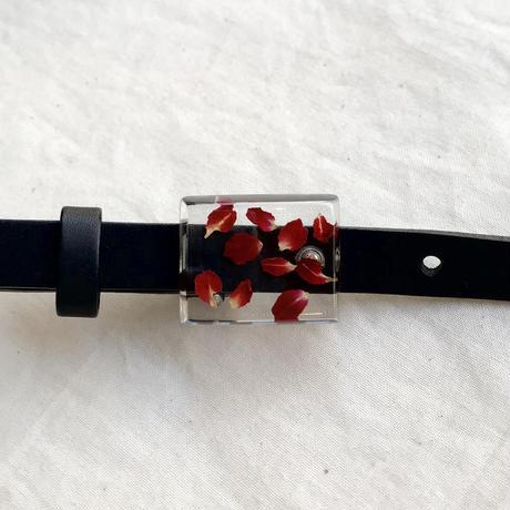 nooca  四角バックルベルト 赤バラ/ブラック