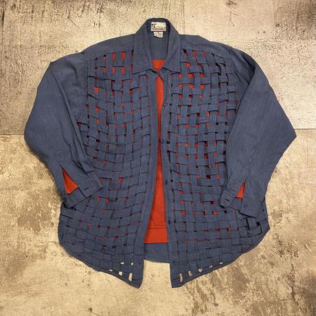 コットン編み込みシャツ