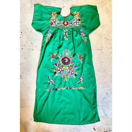 サンアントニオ刺繍 ワンピース グリーン