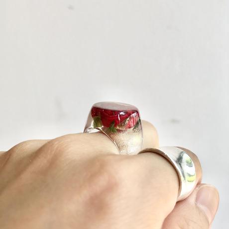 nooca  シグネットリング 赤バラ 14号