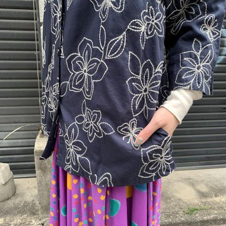 花柄 刺繍 シャツ