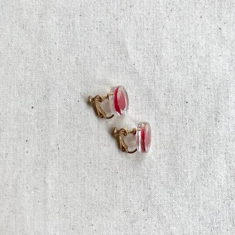 nooca 丸イヤリング バラ/赤  15mm