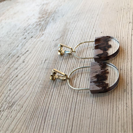 nooca 折木楕円フックイヤリング ウォールナット
