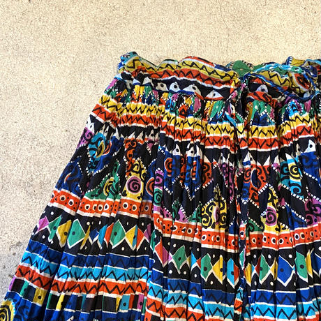 カラフルプリント ギャザースカート