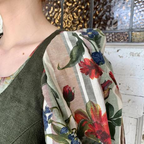 ストライプ×花柄 チロル ワンピース