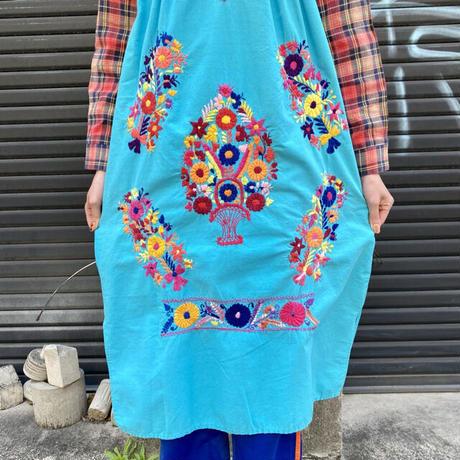 サンアントニオ刺繍 チュニックワンピース 水色