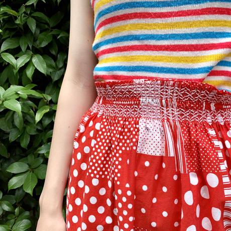 パッチワーク風プリント ギャザースカート