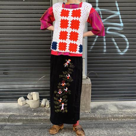 刺繍 巻きスカート
