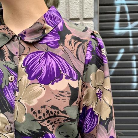 七分袖 花柄 シャツ
