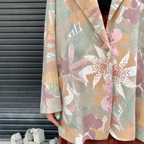 アメリカ製 テーラードジャケット リーフ×花柄