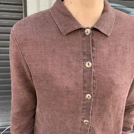 リネン 長袖シャツ