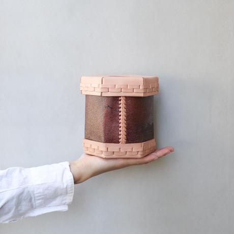 EATABLE Toilet Roll Split Leather Box Natural × 柿渋