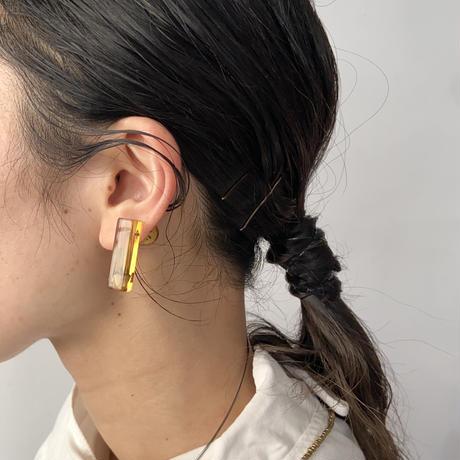 nooca 別注 角棒+球ピアス 琥珀色(バラ+かすみ草) 片耳