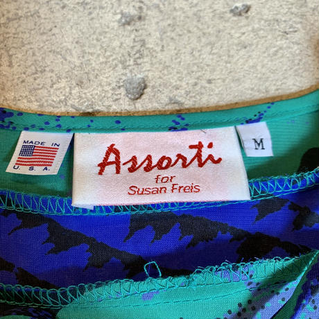 "80's  ""Assorti for Susan Freis""  総柄ワンピース"
