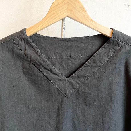 ロシア スリーピングシャツ Vネック 後染めblack