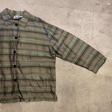 光沢シルクボーダーシャツ