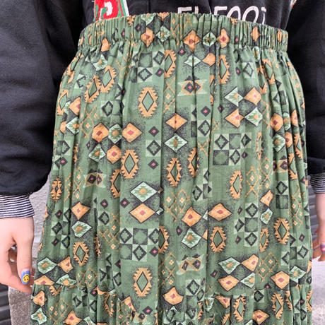 総柄 ティアードスカート
