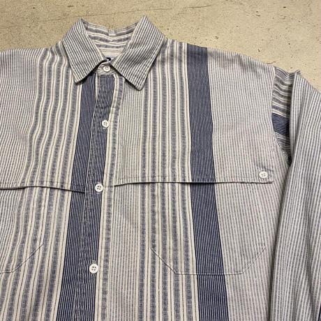 アメリカ製マルチストライプコットンシャツ