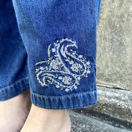 デニムイージーパンツ 刺繍