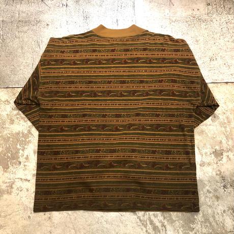 総柄モックネックロングTシャツ