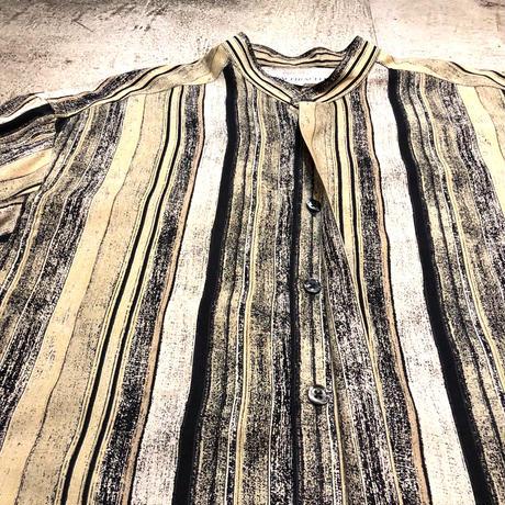 バンドカラー総柄L/Sシャツ