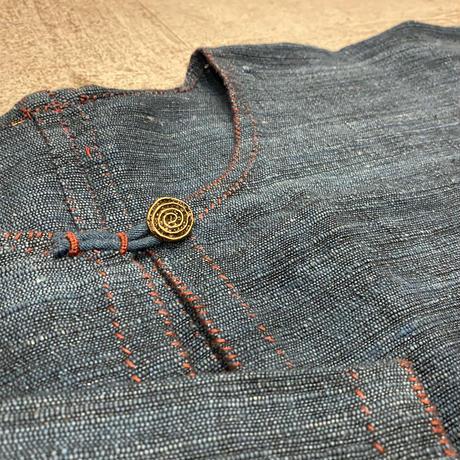 ノーカラーインディゴシャツジャケット