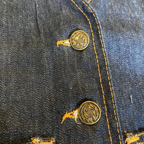 デニムベスト ポケット刺繍