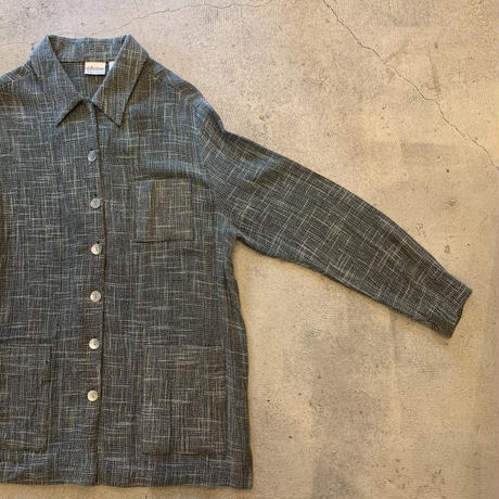 あら編みチェックシャツ