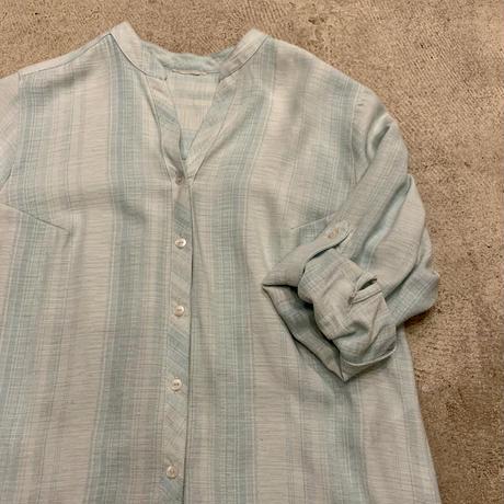 オープンカラー  ストライプ シャツ