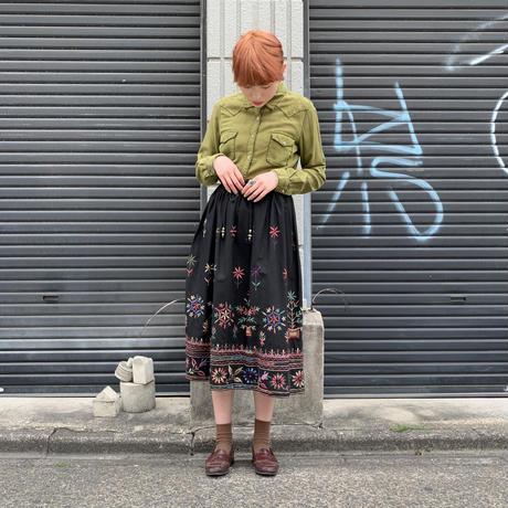 シルク×コットン 刺繍シャツ