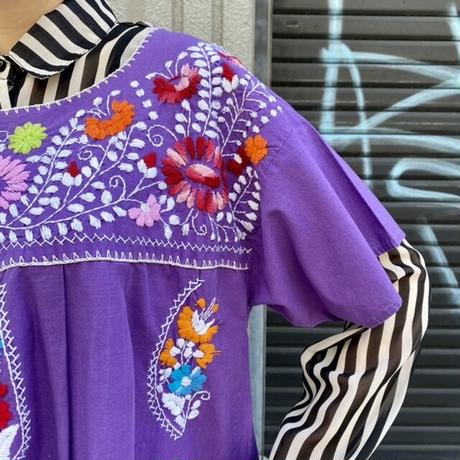 サンアントニオ刺繍 チュニックワンピース パープル