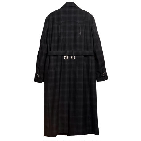 WESTERN D RING TRENCH COAT -OMBRE CHECK WOOL-