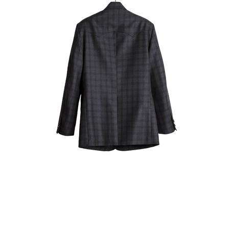 WESTERN SINGLE BREASTED JACKET -SERGE WOOL CHECK-