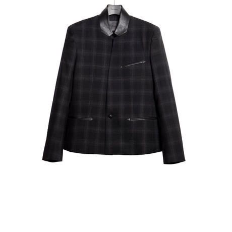 STAND COLLAR BLAZER -OMBRE CHECK WOOL-