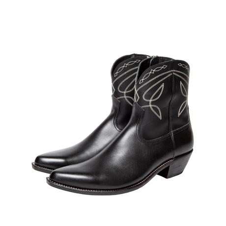 WESTERN  SIDE ZIP BOOTS -SADDLE CALF-