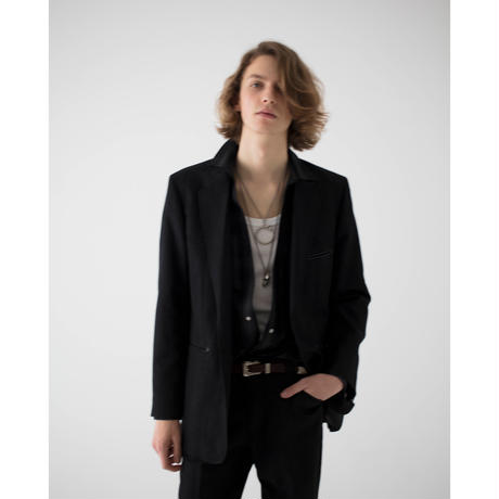Western Single Breasted Jacket. -Wool Linen Check-