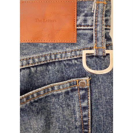 5 POCKET D RING BOOTS CUT PANTS -USED WASHED DENIM-