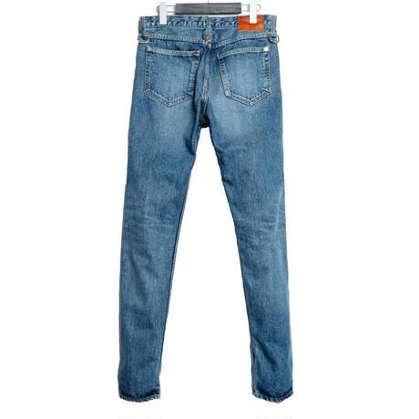 5 POCKET D RING SLIM PANTS -USED WASHED DENIM-
